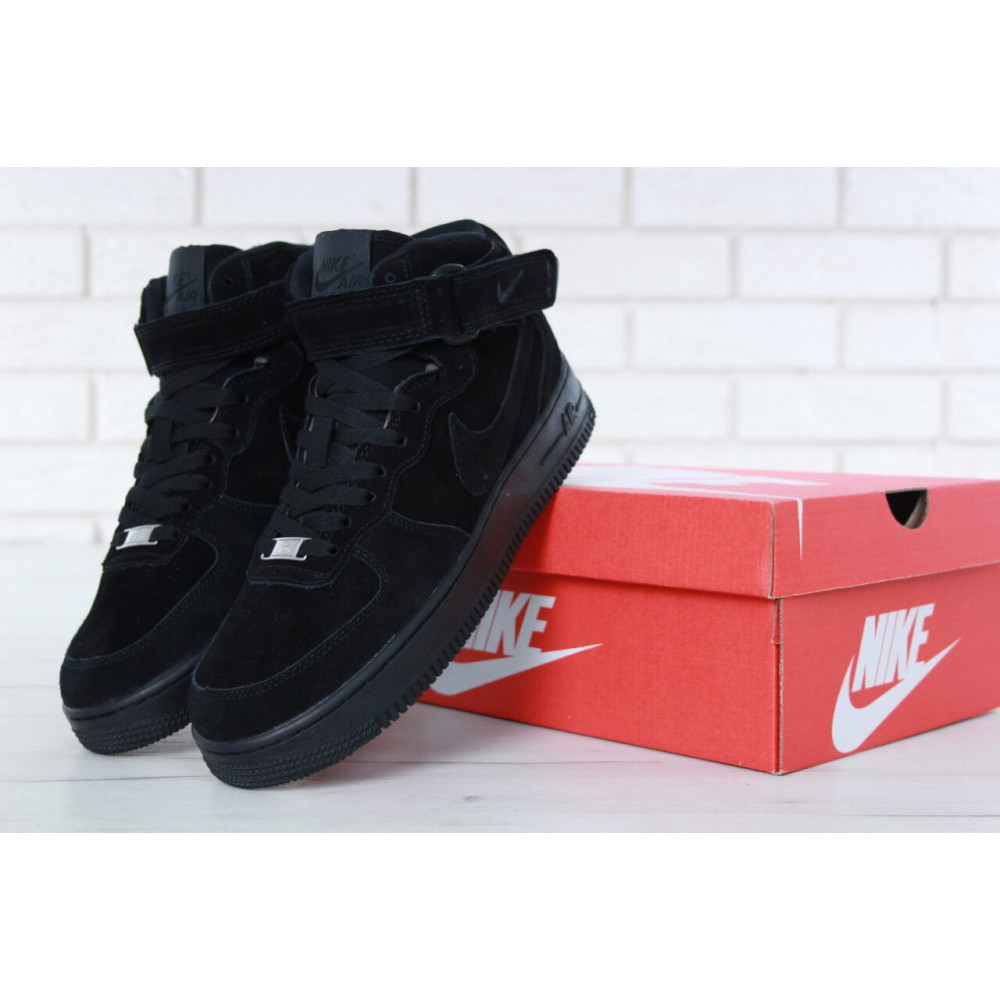 Зимние кроссовки мужские - Мужские зимние кроссовки с мехом Nike Air Force 1 High Triple Black Winter