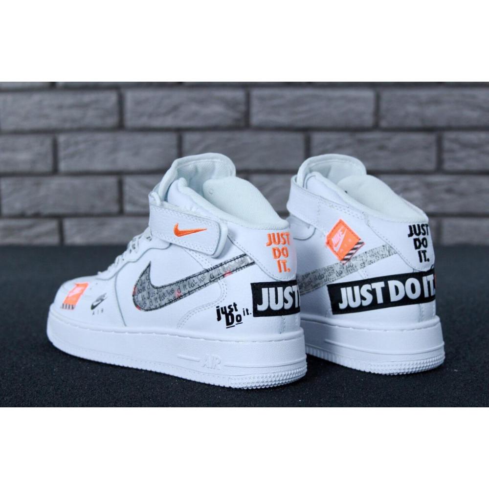 Демисезонные кроссовки мужские   - Мужские белые высокие кроссовки Air Force 1 Hi Just Do It 1