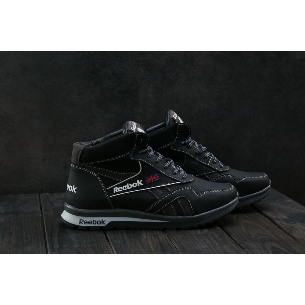 Зимние кроссовки мужские - Мужские кроссовки кожаные зимние черные-серые CrosSAV 50 3