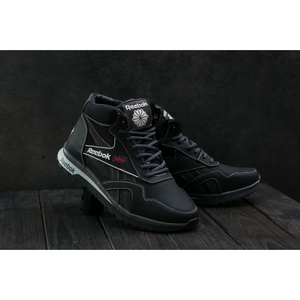 Зимние кроссовки мужские - Мужские кроссовки кожаные зимние черные-серые CrosSAV 50