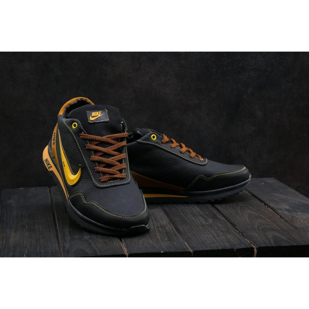 Зимние кроссовки мужские - Мужские кроссовки кожаные зимние черные-рыжие CrosSAV 22