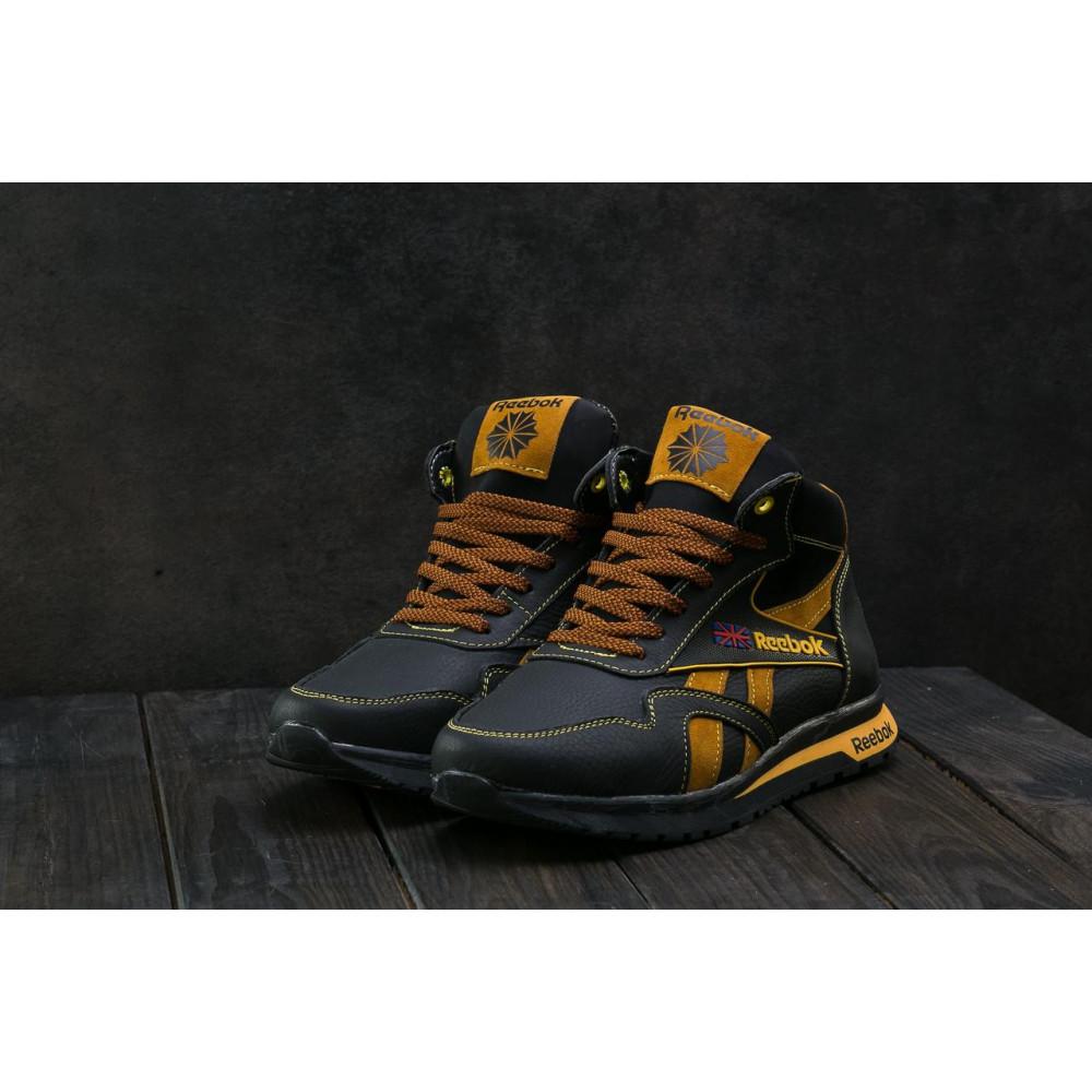 Зимние кроссовки мужские - Мужские кроссовки кожаные зимние черные-рыжие CrosSAV 50 4