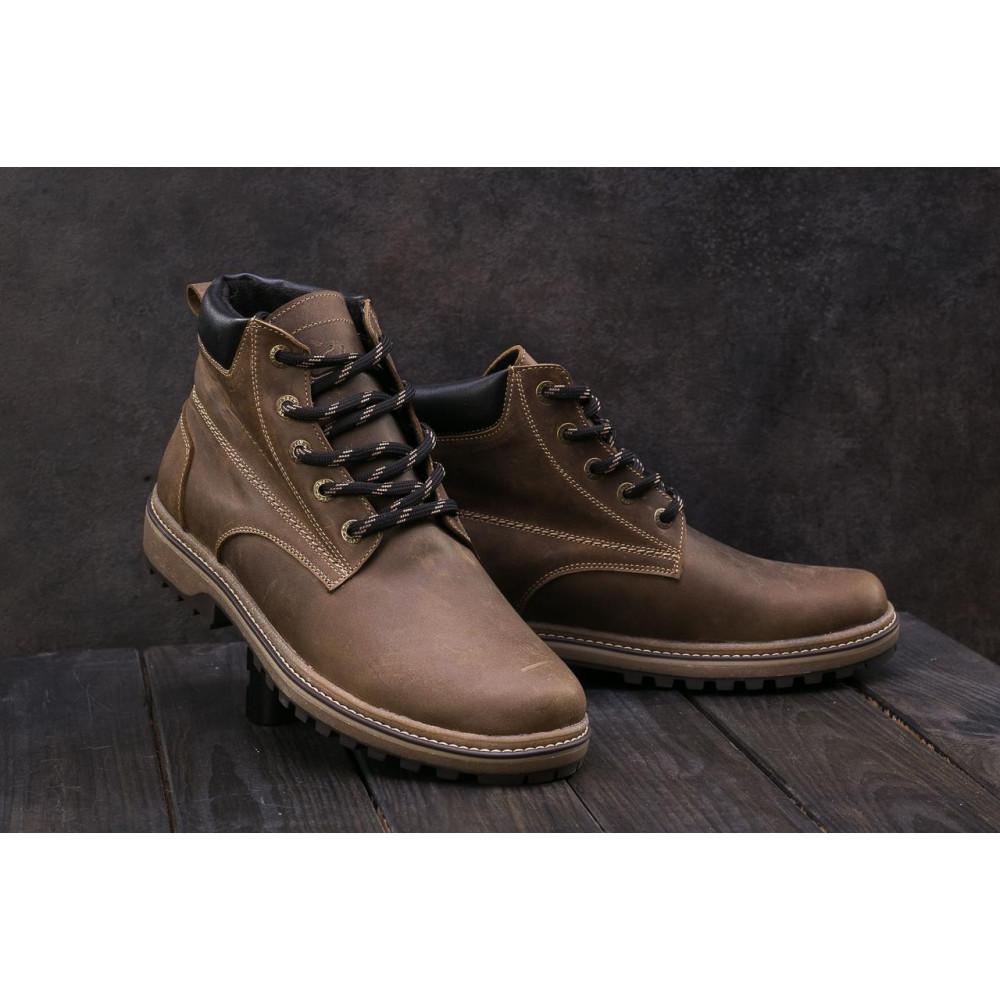 Мужские ботинки зимние - Мужские ботинки кожаные зимние оливковые Yuves 444 4