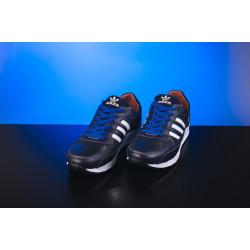 Подростковые кроссовки кожаные весна/осень синие-рыжие Yuves 85
