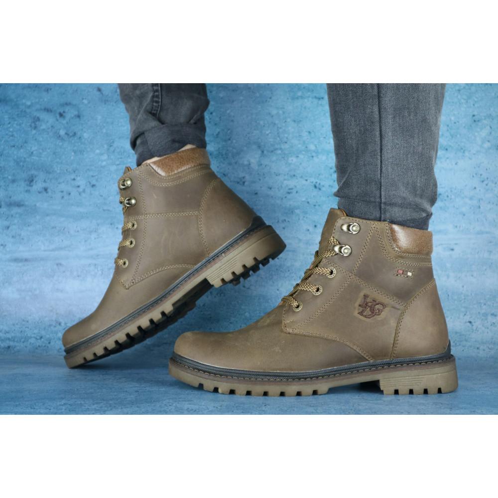Мужские ботинки зимние - Мужские ботинки кожаные зимние оливковые Udg 741