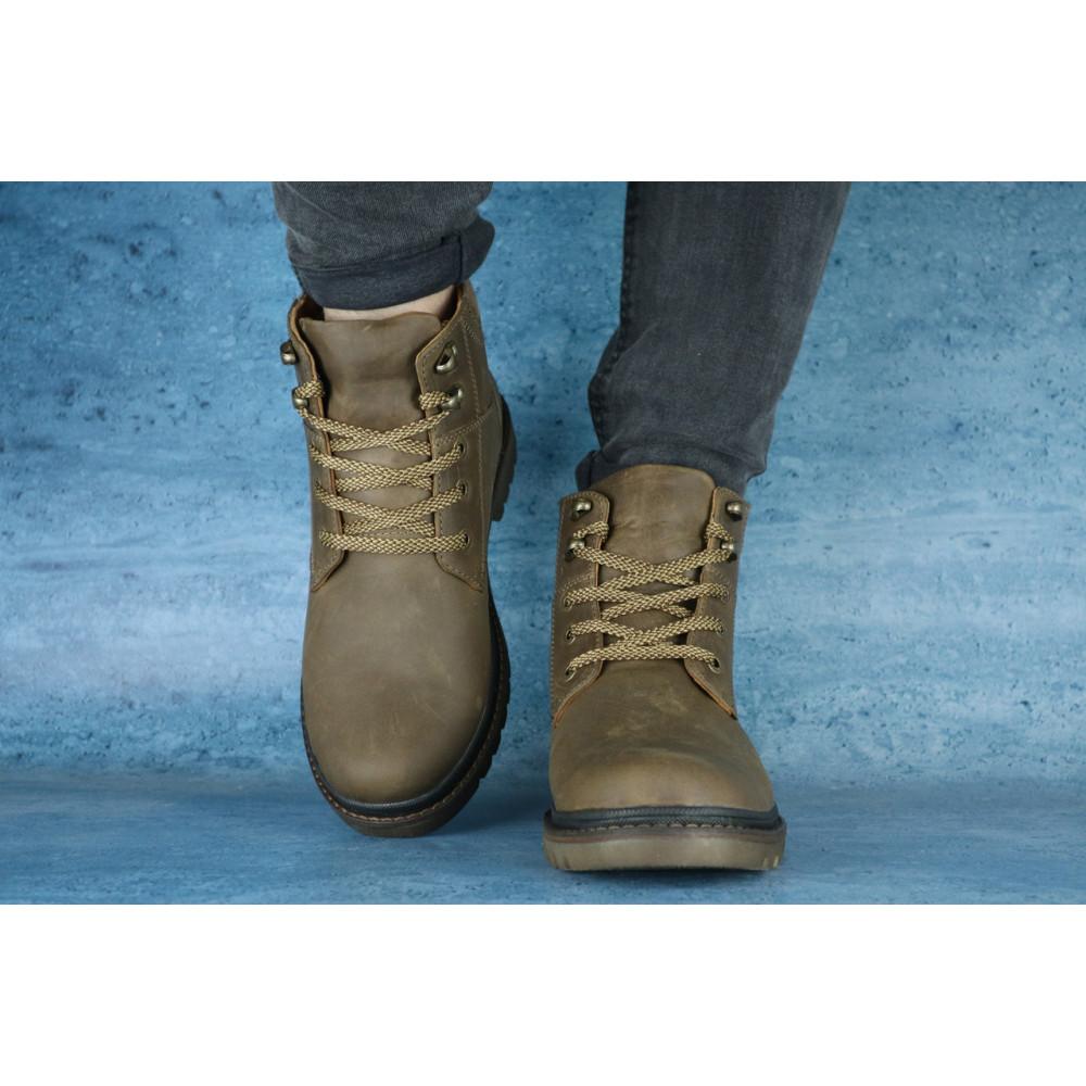 Мужские ботинки зимние - Мужские ботинки кожаные зимние оливковые Udg 741 1