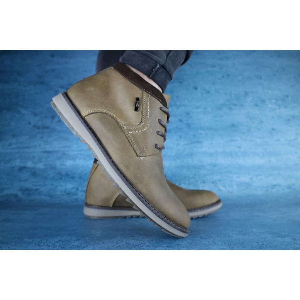 Мужские ботинки зимние - Мужские ботинки кожаные зимние оливковые Yuves 333