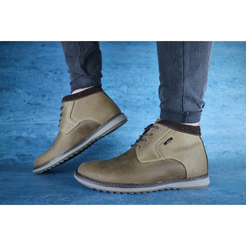 Мужские ботинки зимние - Мужские ботинки кожаные зимние оливковые Yuves 333 3