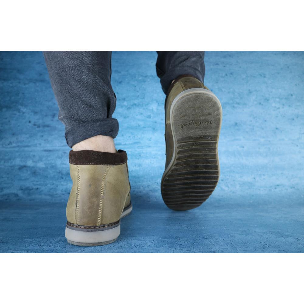 Мужские ботинки зимние - Мужские ботинки кожаные зимние оливковые Yuves 333 2
