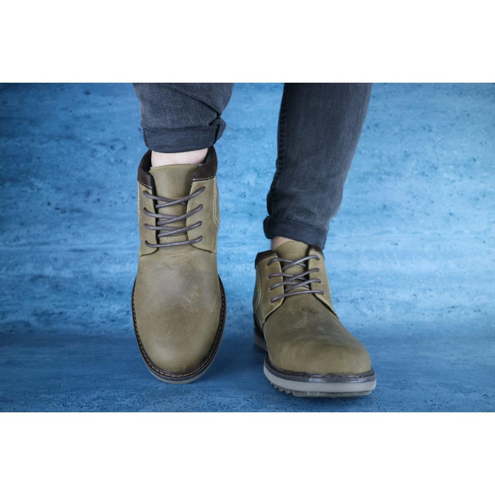Мужские ботинки зимние - Мужские ботинки кожаные зимние оливковые Yuves 333 1