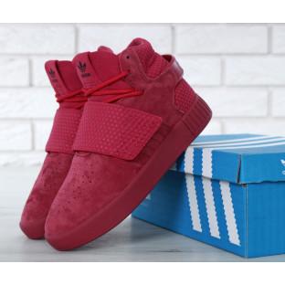 Женские высокие кроссовки Adidas Tubular Invader Strap Red