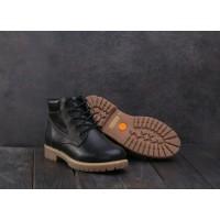 Подростковые ботинки кожаные зимние черные Yuves 444