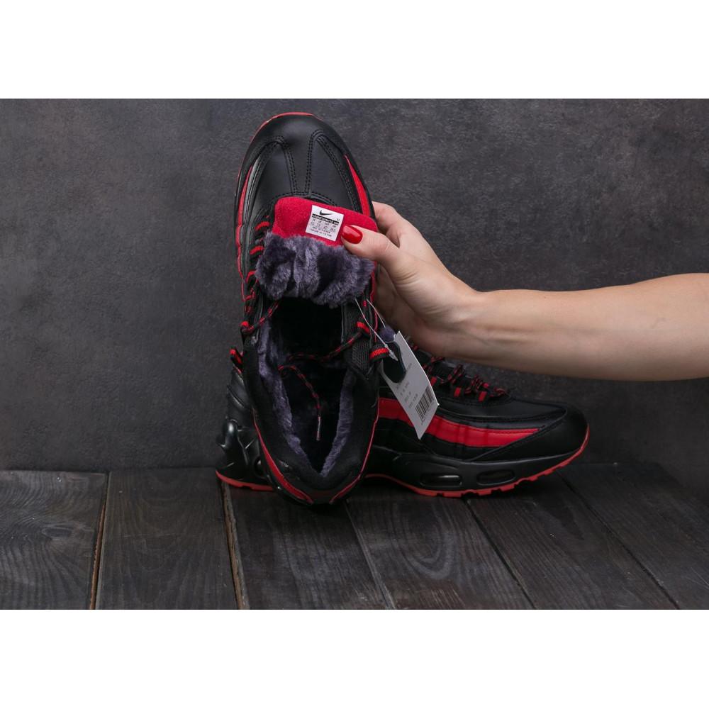 Зимние кроссовки мужские - Мужские кроссовки искусственная кожа зимние черные-красные Ditof A 1895 -16 2