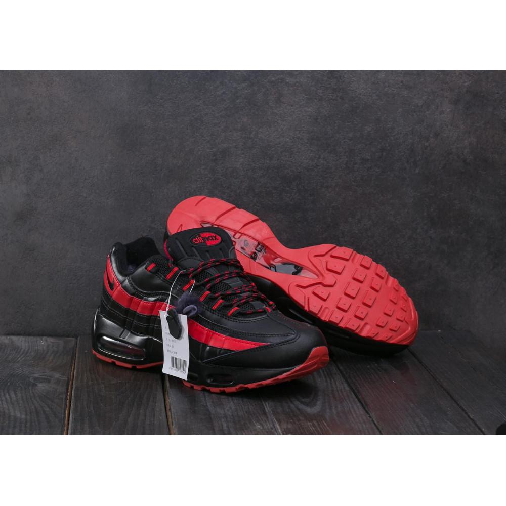 Зимние кроссовки мужские - Мужские кроссовки искусственная кожа зимние черные-красные Ditof A 1895 -16 1