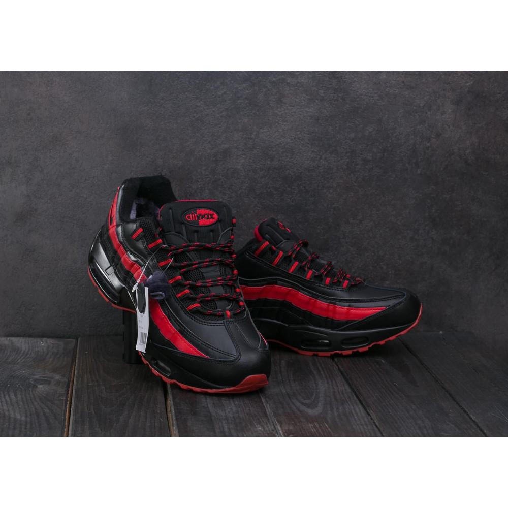 Зимние кроссовки мужские - Мужские кроссовки искусственная кожа зимние черные-красные Ditof A 1895 -16