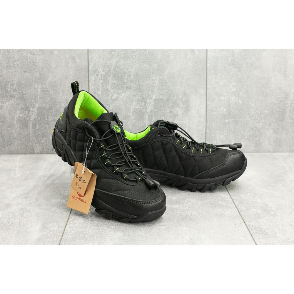 Демисезонные кроссовки мужские   - Мужские кроссовки текстильные весна/осень черные-зеленые Ditof A 741 -5