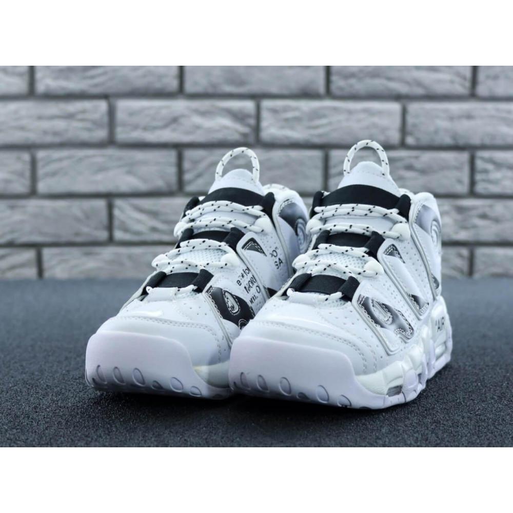 Демисезонные кроссовки мужские   - Мужские высокие кроссовки Air More Uptempo черно-белые 8