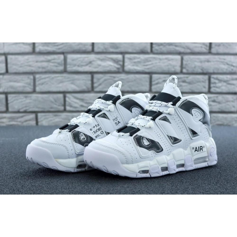 Демисезонные кроссовки мужские   - Мужские высокие кроссовки Air More Uptempo черно-белые 6