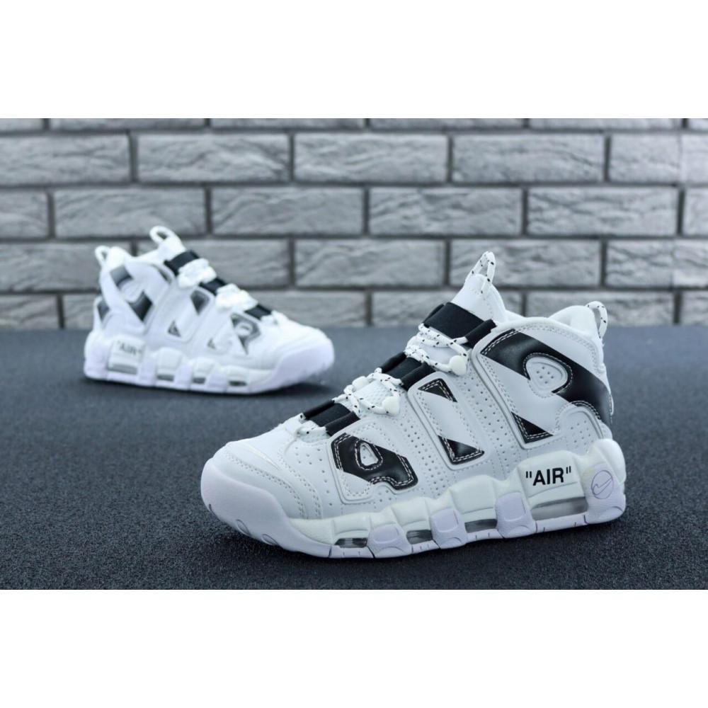 Демисезонные кроссовки мужские   - Мужские высокие кроссовки Air More Uptempo черно-белые 4