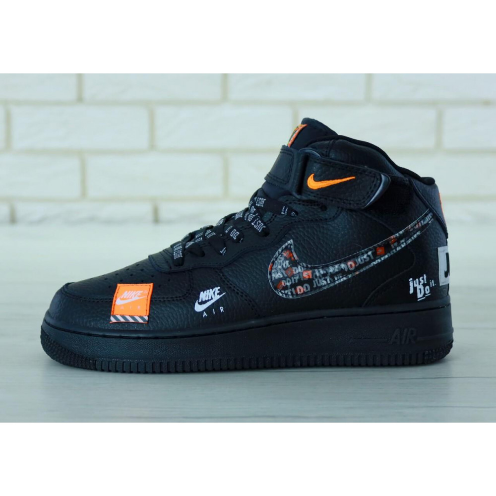 Демисезонные кроссовки мужские   - Мужские черные кожаные кроссовки Air Force Just Do It 9