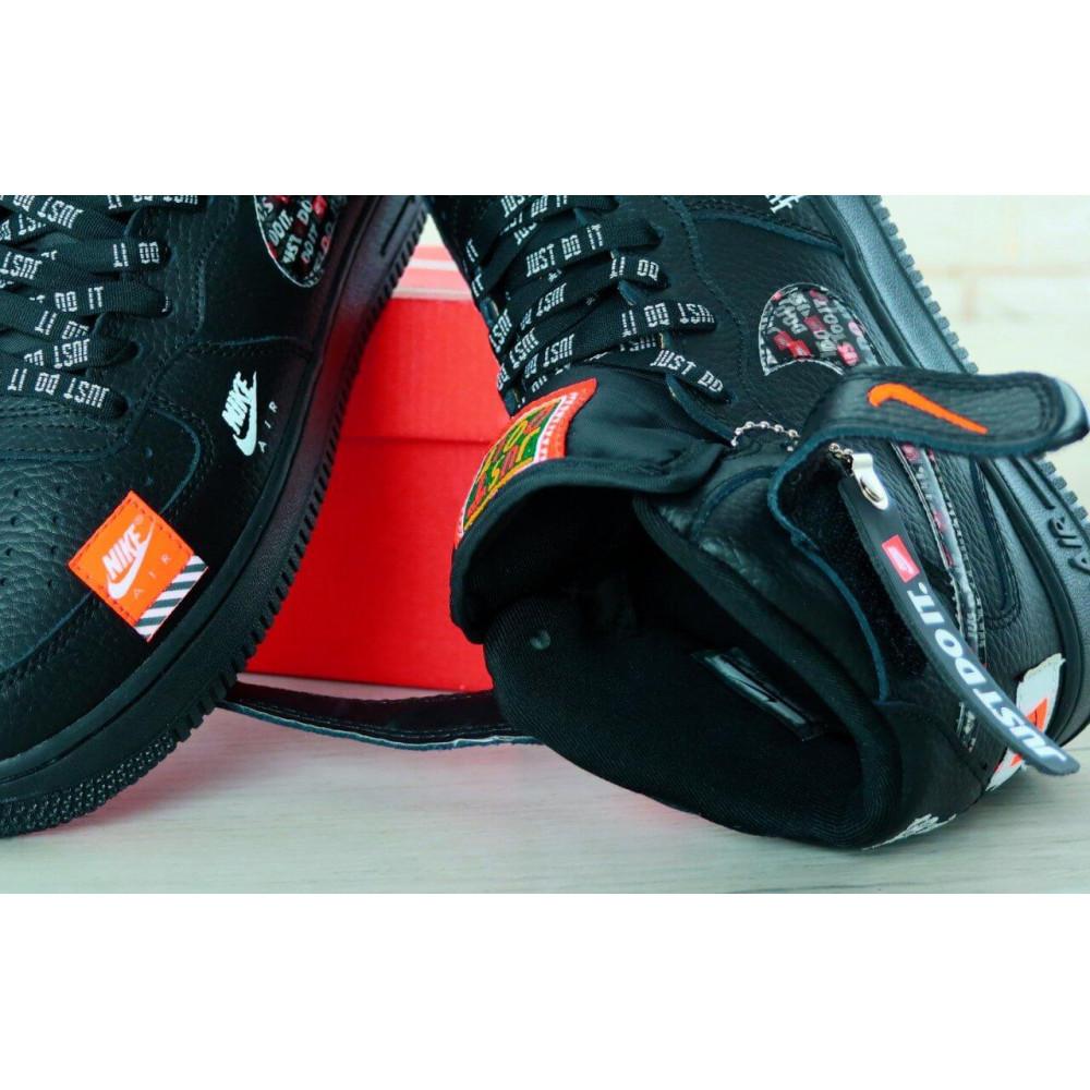Демисезонные кроссовки мужские   - Мужские черные кожаные кроссовки Air Force Just Do It 8