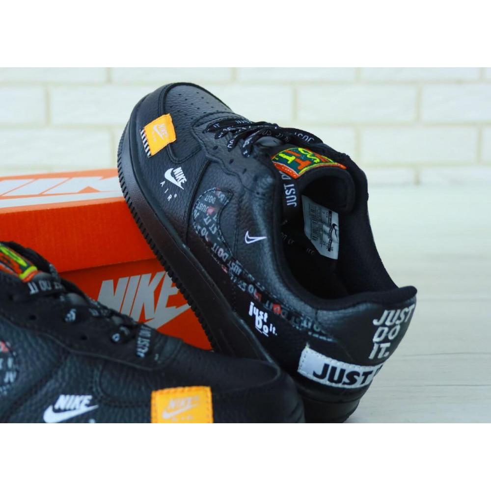 Демисезонные кроссовки мужские   - Мужские кожаные кроссовки Найк Аир Форс 1 черные низкие 4