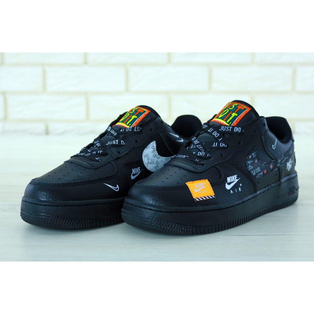 Демисезонные кроссовки мужские   - Мужские кожаные кроссовки Найк Аир Форс 1 черные низкие 8