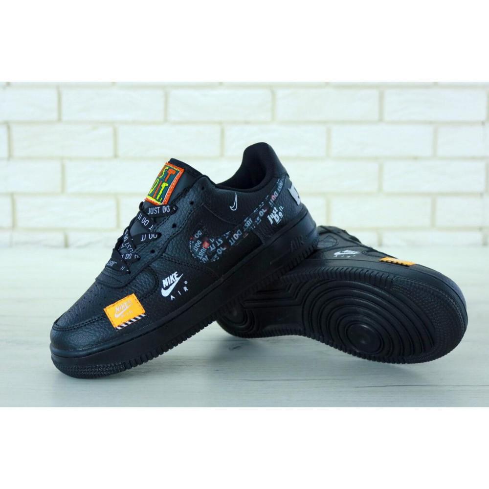 Демисезонные кроссовки мужские   - Мужские кожаные кроссовки Найк Аир Форс 1 черные низкие 7