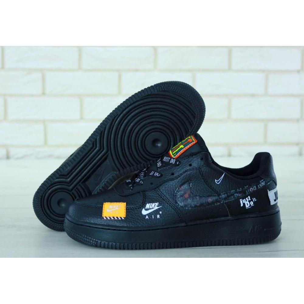 Демисезонные кроссовки мужские   - Мужские кожаные кроссовки Найк Аир Форс 1 черные низкие 6