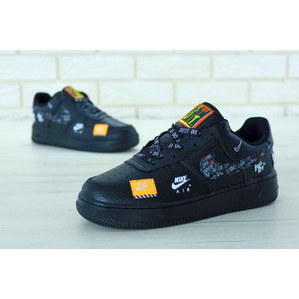 Демисезонные кроссовки мужские   - Мужские кожаные кроссовки Найк Аир Форс 1 черные низкие 5