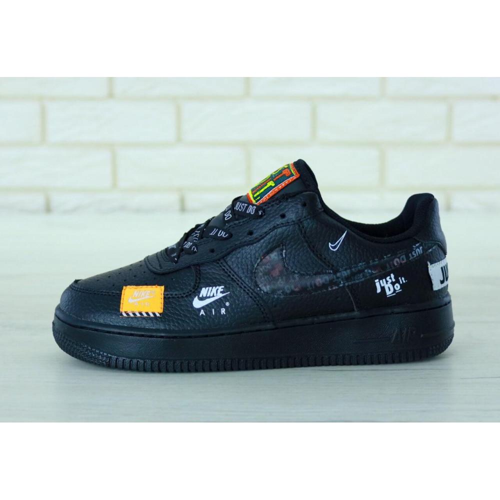 Демисезонные кроссовки мужские   - Мужские кожаные кроссовки Найк Аир Форс 1 черные низкие 9