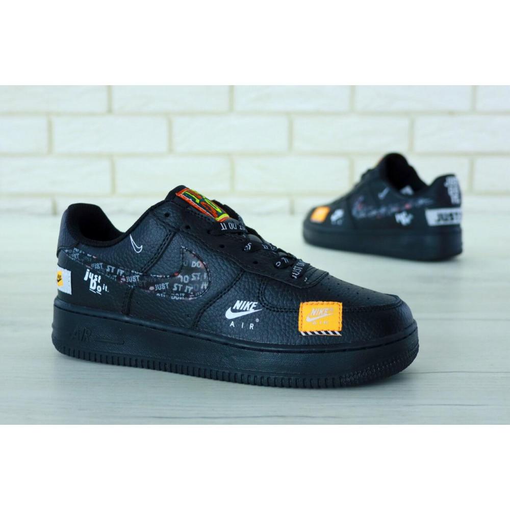 Демисезонные кроссовки мужские   - Мужские кожаные кроссовки Найк Аир Форс 1 черные низкие 3