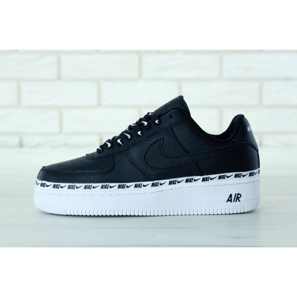 Кожаные кроссовки мужские - Мужские кожаные кроссовки Air Force 1 07 Black 1
