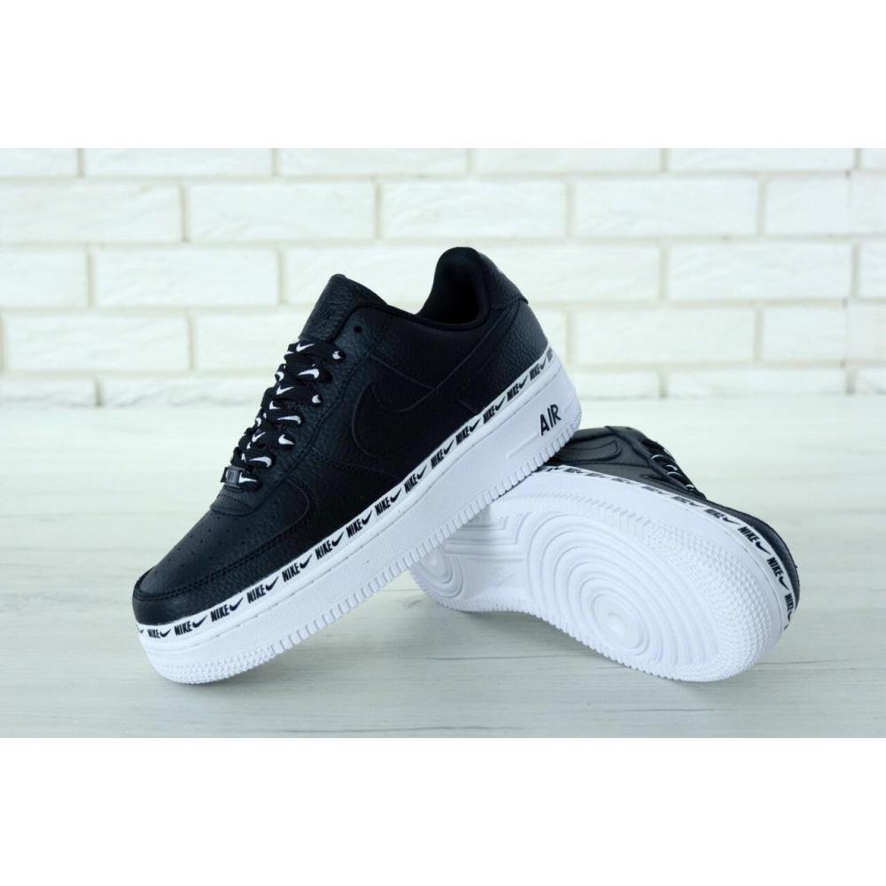 Кожаные кроссовки мужские - Мужские кожаные кроссовки Air Force 1 07 Black 5
