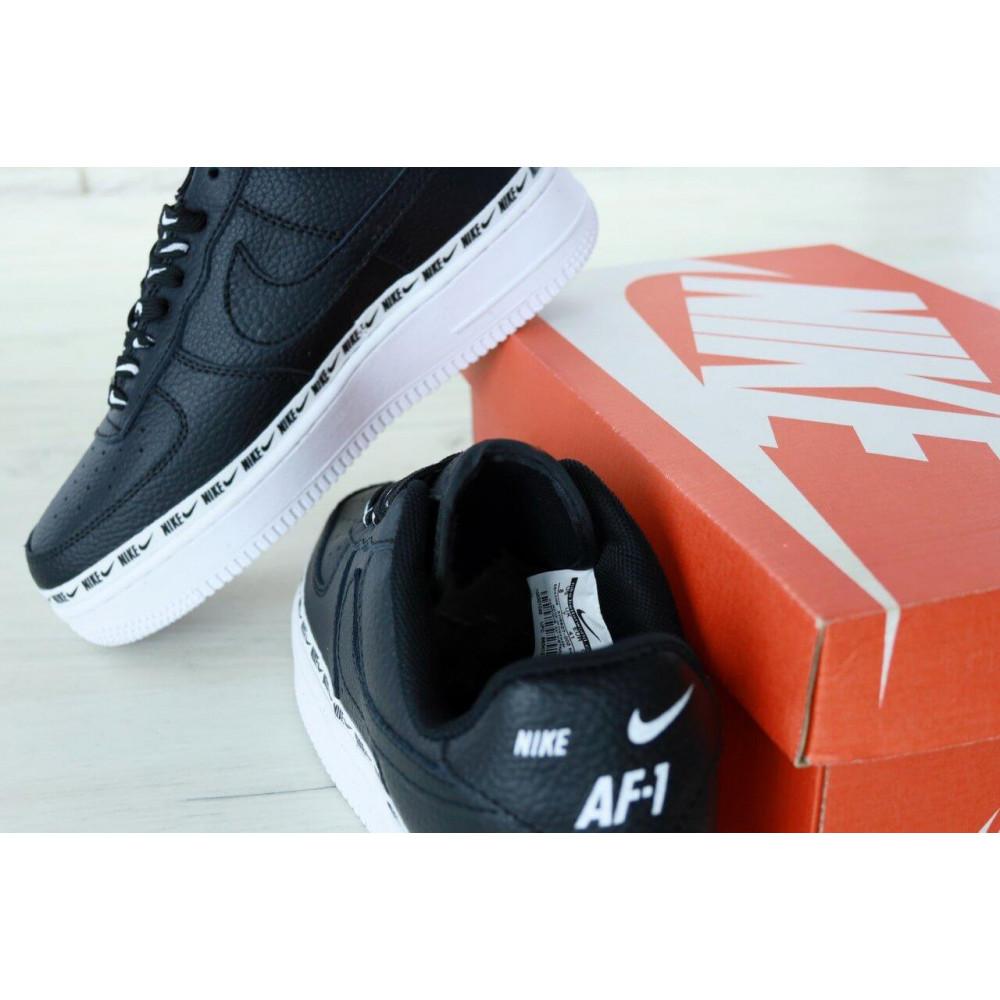 Кожаные кроссовки мужские - Мужские кожаные кроссовки Air Force 1 07 Black 8