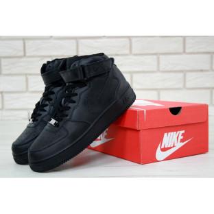 Мужские черные кожаные кроссовки Air Force 1 High Black