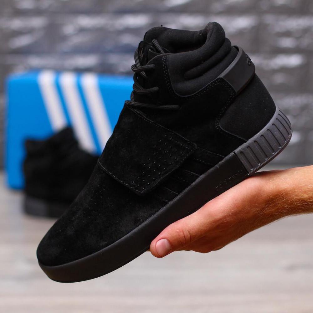 Демисезонные кроссовки мужские   - Кроссовки Adidas Tubular Ivader Strap Triple Black 1