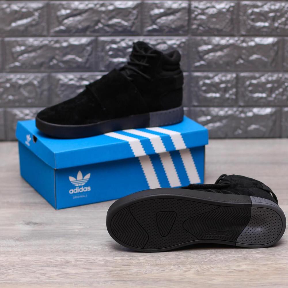 Демисезонные кроссовки мужские   - Кроссовки Adidas Tubular Ivader Strap Triple Black 4