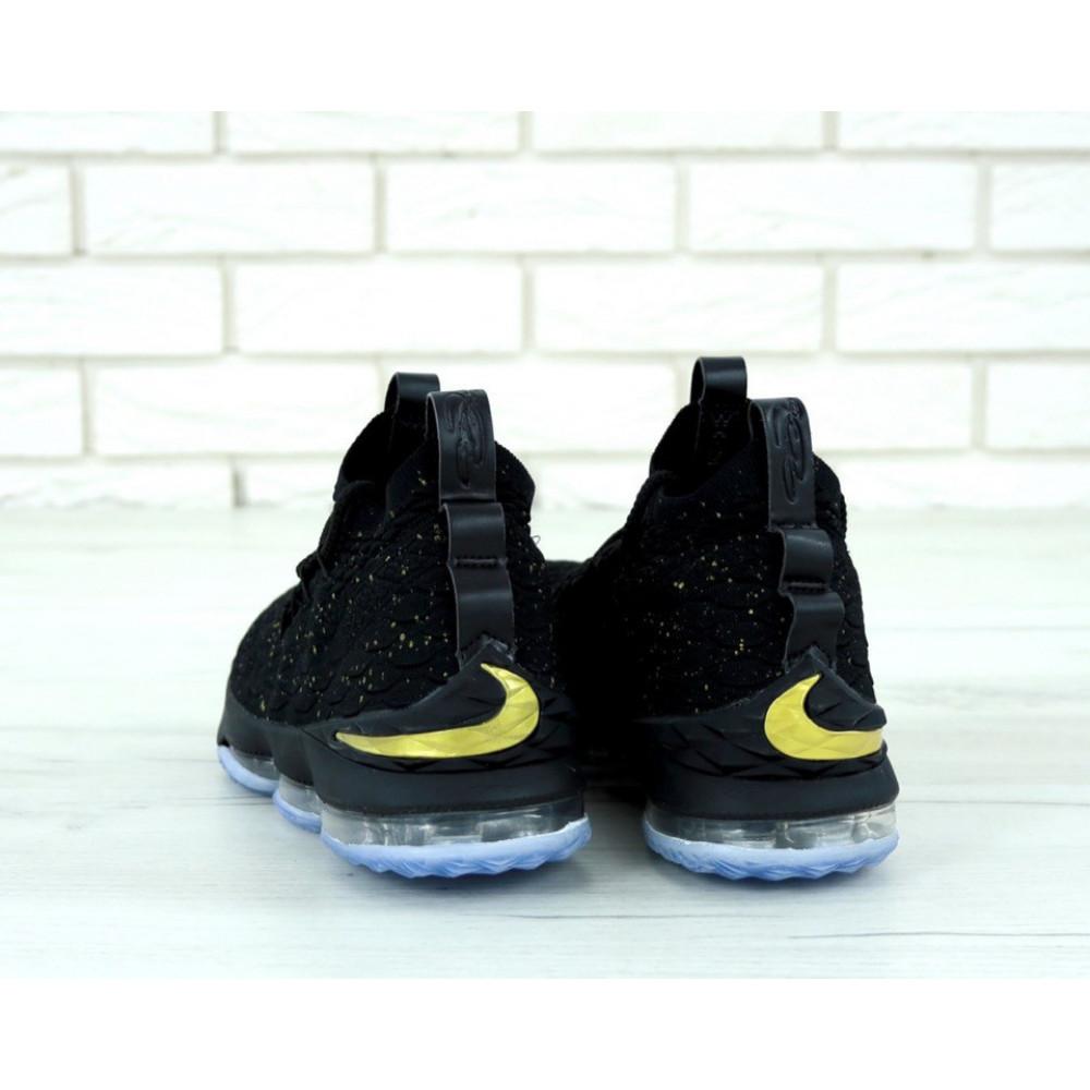 Демисезонные кроссовки мужские   - Баскетбольные кроссовки LeBron 15 Black Metallic Gold Ocean Fog 4