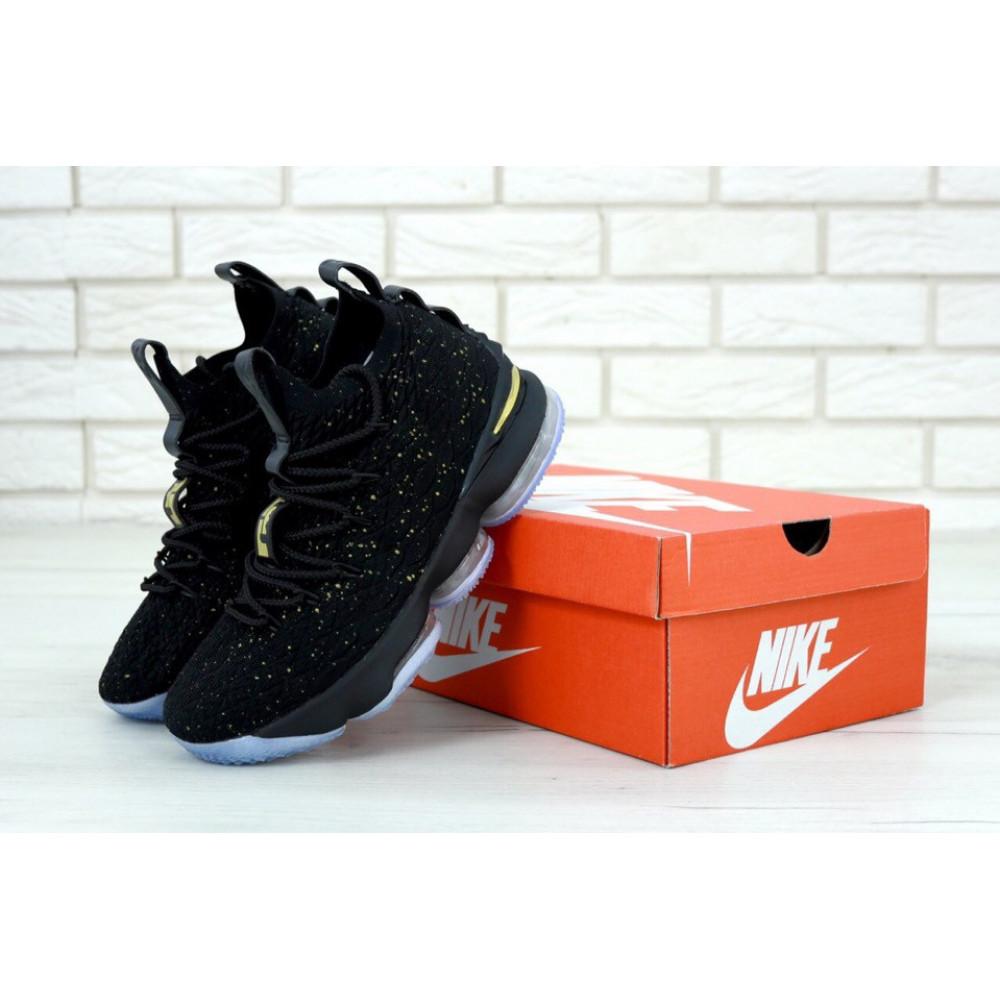 Демисезонные кроссовки мужские   - Баскетбольные кроссовки LeBron 15 Black Metallic Gold Ocean Fog