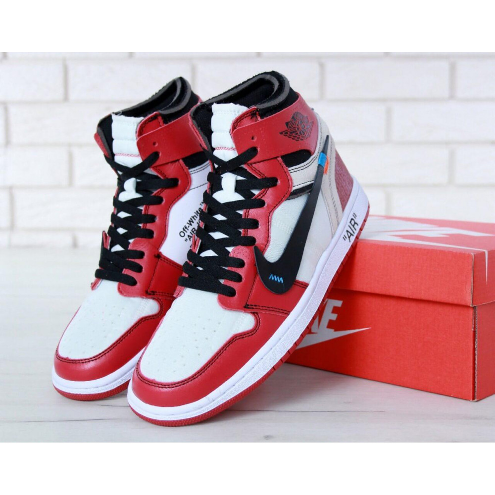 Демисезонные кроссовки мужские   - Баскетбольные мужские кроссовки Air Jordan 1 Off White в бело-красном цвете