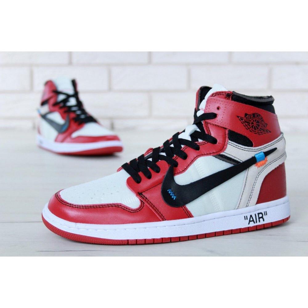 Демисезонные кроссовки мужские   - Баскетбольные мужские кроссовки Air Jordan 1 Off White в бело-красном цвете 9
