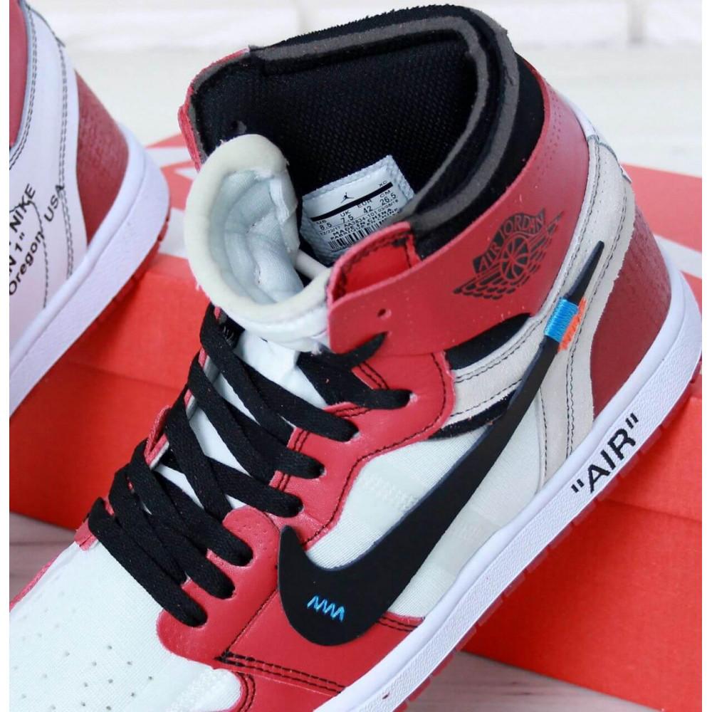 Демисезонные кроссовки мужские   - Баскетбольные мужские кроссовки Air Jordan 1 Off White в бело-красном цвете 6