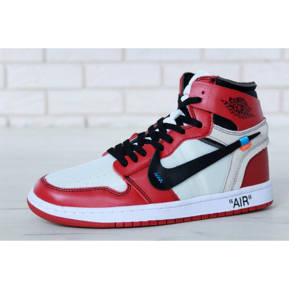 Демисезонные кроссовки мужские   - Баскетбольные мужские кроссовки Air Jordan 1 Off White в бело-красном цвете 5