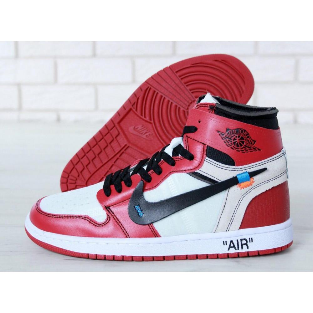 Демисезонные кроссовки мужские   - Баскетбольные мужские кроссовки Air Jordan 1 Off White в бело-красном цвете 8