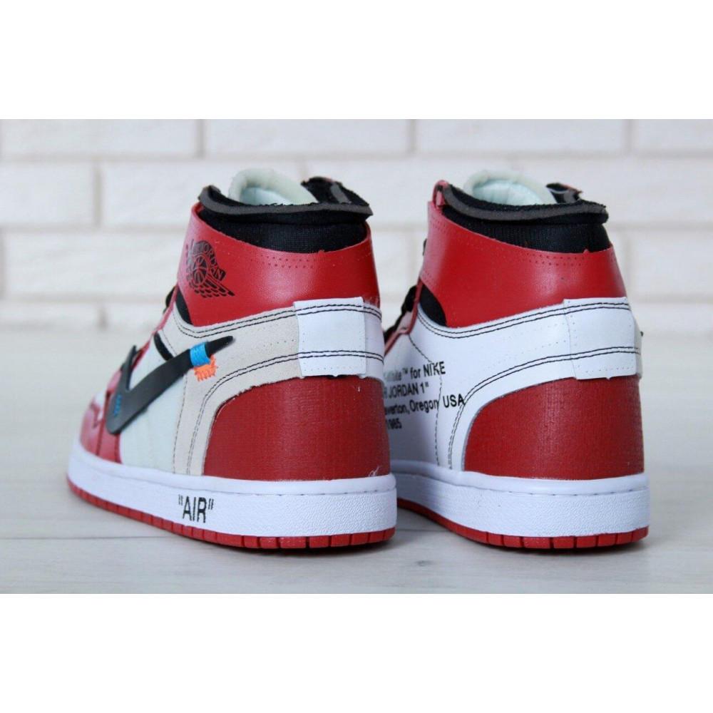 Демисезонные кроссовки мужские   - Баскетбольные мужские кроссовки Air Jordan 1 Off White в бело-красном цвете 7