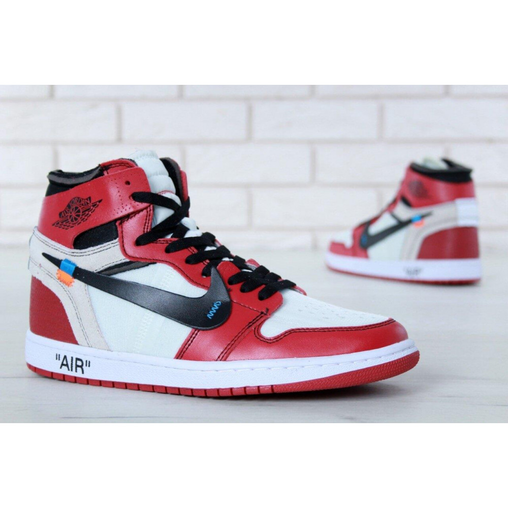 Демисезонные кроссовки мужские   - Баскетбольные мужские кроссовки Air Jordan 1 Off White в бело-красном цвете 4
