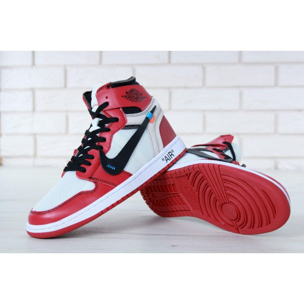 Демисезонные кроссовки мужские   - Баскетбольные мужские кроссовки Air Jordan 1 Off White в бело-красном цвете 3