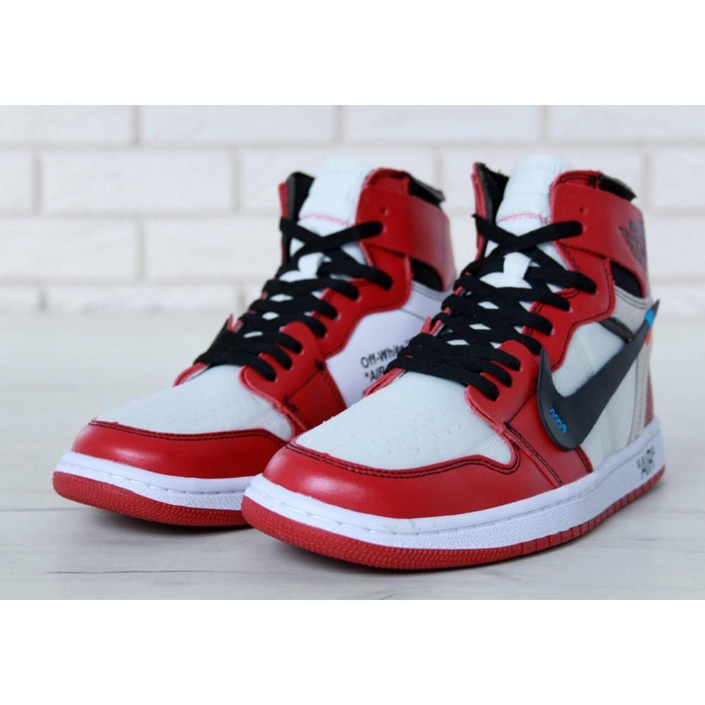 Демисезонные кроссовки мужские   - Баскетбольные мужские кроссовки Air Jordan 1 Off White в бело-красном цвете 2