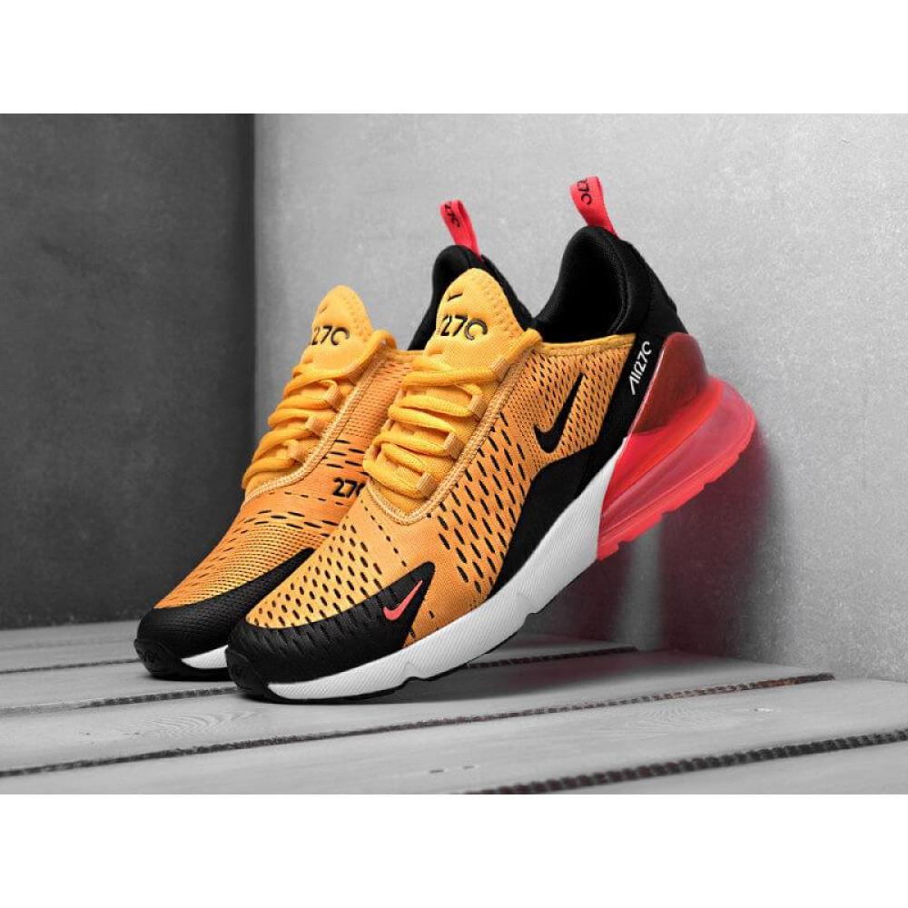 Демисезонные кроссовки мужские   - Мужские кроссовки Nike Air Max 270 черно-оранжевые